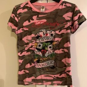 Ed Hardy pink Camo T-shirt with bling